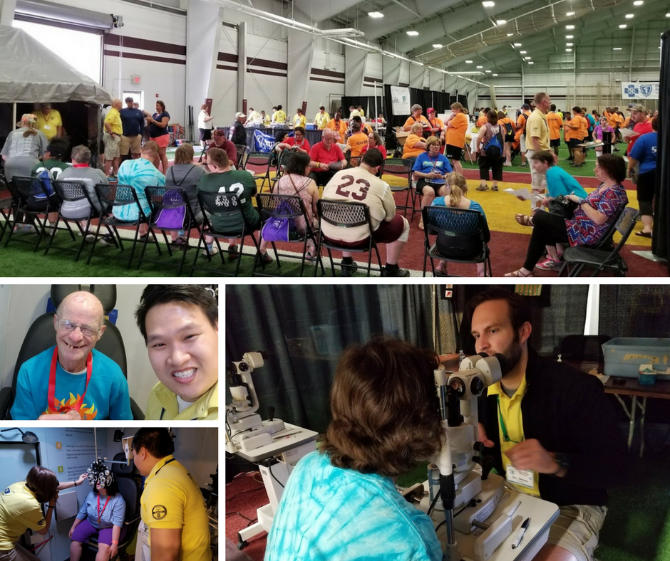 Dr. Tran and Dr Dornbos performing free vision screenings at the Michigan State Summer Special Olympic Games