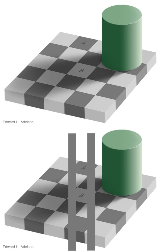 Tiles a and b appear to be different shades of color, but are in fact exactly the same.