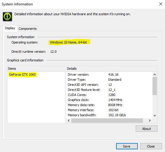 NVIDIA System Information