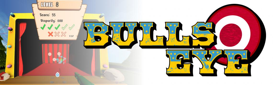 Bullseye is an interactive, carnival game themed activity used to train distance stereopsis in a virtual reality setting.