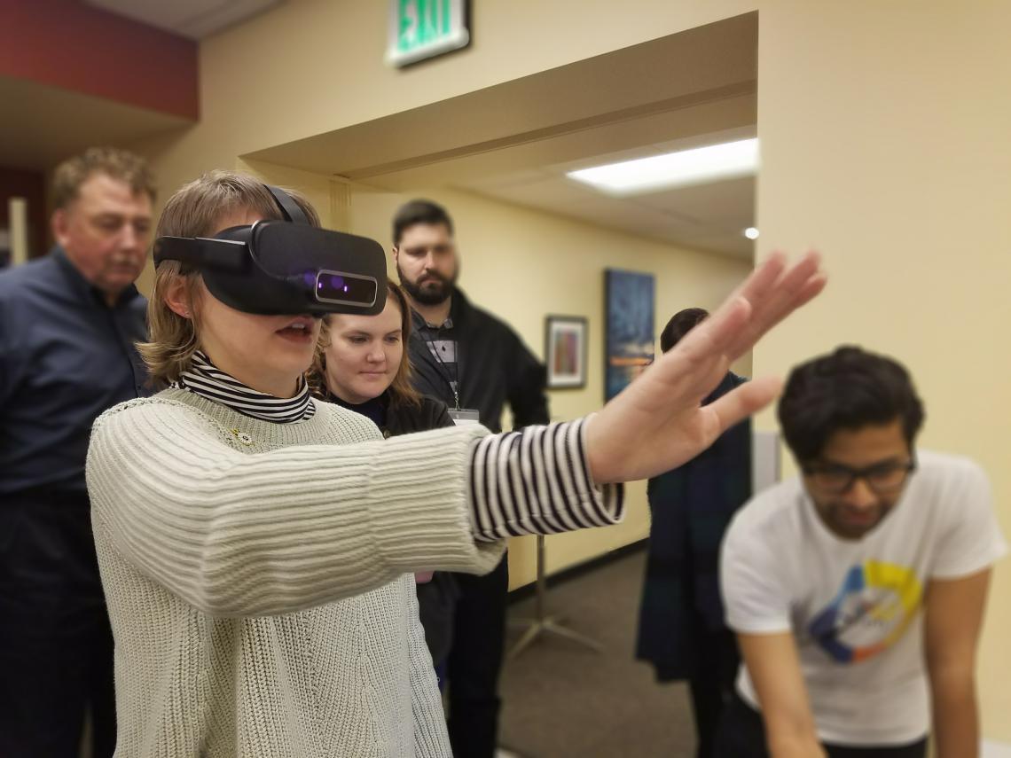 Manish Gupta demoing Vivid Vision in Oregon.